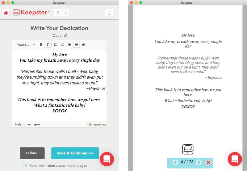 composing dedication in keepster app and preview