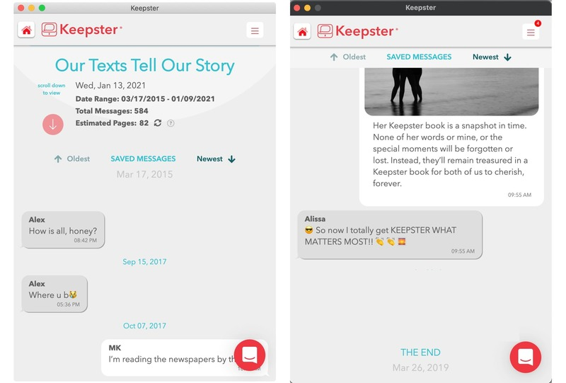 keepster folder beginning and end